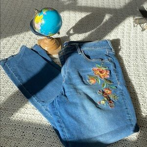 Flower stitched jeans